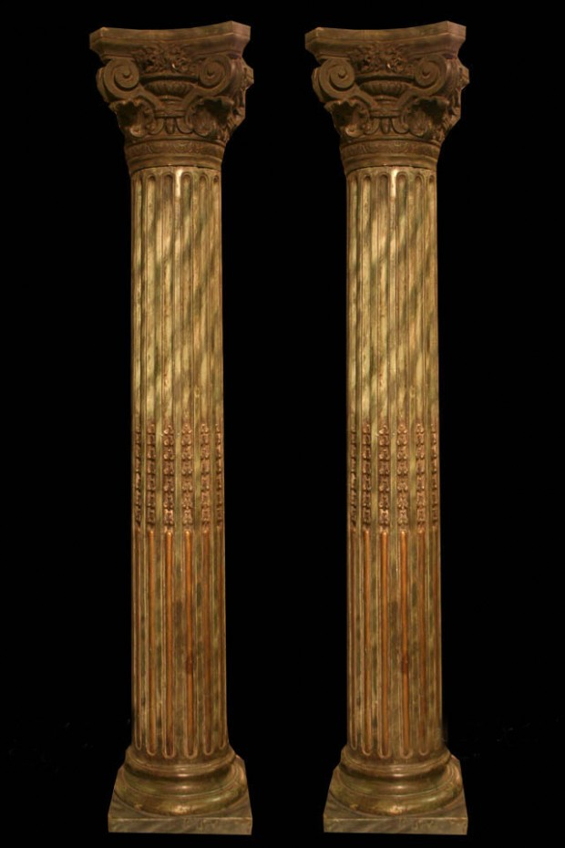 Th century ceramic fluted columns with carved corinthian