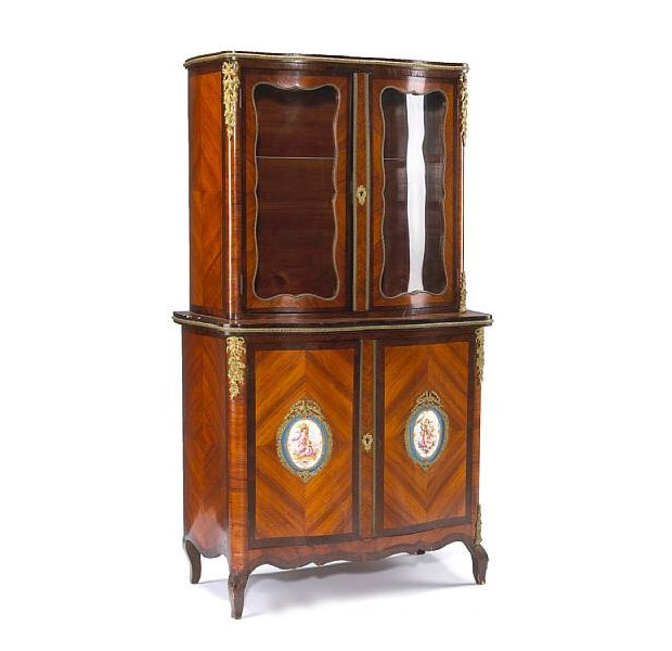 19th Century Louis XV-Style Sevres Mounted Rosewood and Kingwood Cabinet
