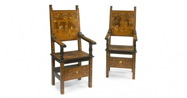 19th Century Renaissance Revival Ivory and Marquetry Inlaid Armchairs