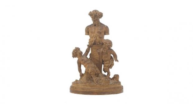 Antique French Terracotta Bacchanalian Group