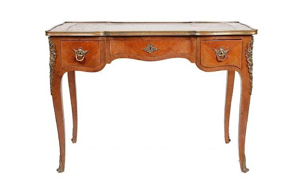 Antique Louis XV-Style Gilt Bronze Mounted Tulipwood Small Bureau Plat