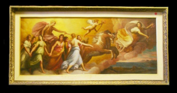Antique Neoclassical Oil on Canvas with Figures