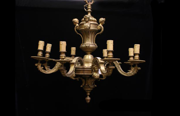 19 Century Finely made Antique Regence Bronze Chandelier+ - Chandeliers The World Of Design