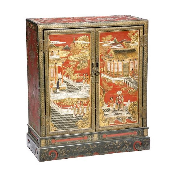 Chinese Black and Polychrome Lacquer Cabinet