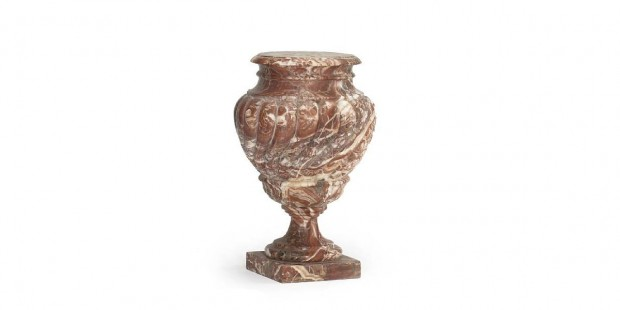 Continental Baroque Style Urn Form Variegated Rouge Marble Pedestal