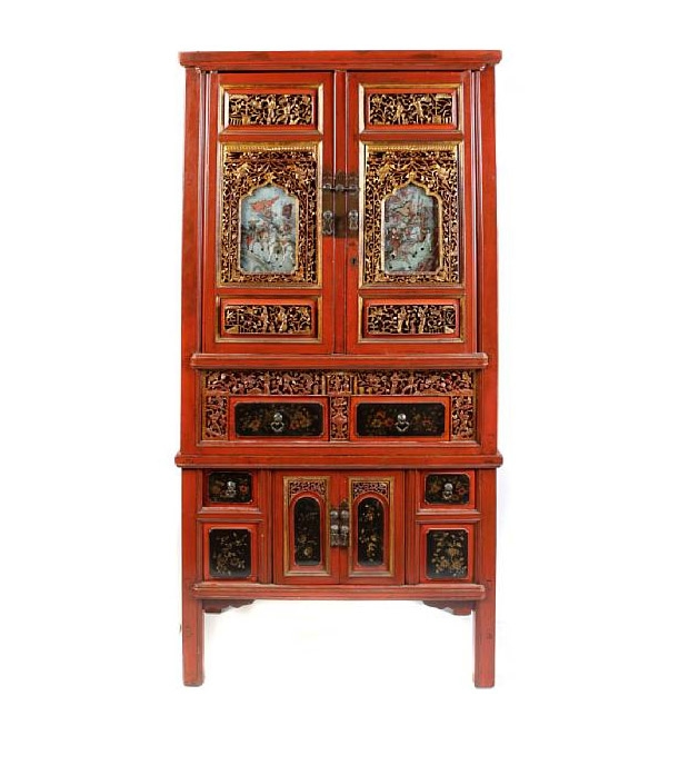 Late 19th Century Chinese Red and Gilt Painted Storage Cabinet