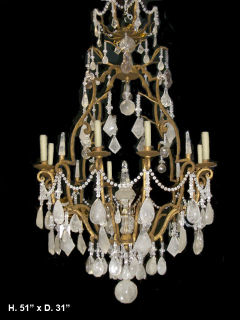 Louis Rock Crystal Chandelier Large