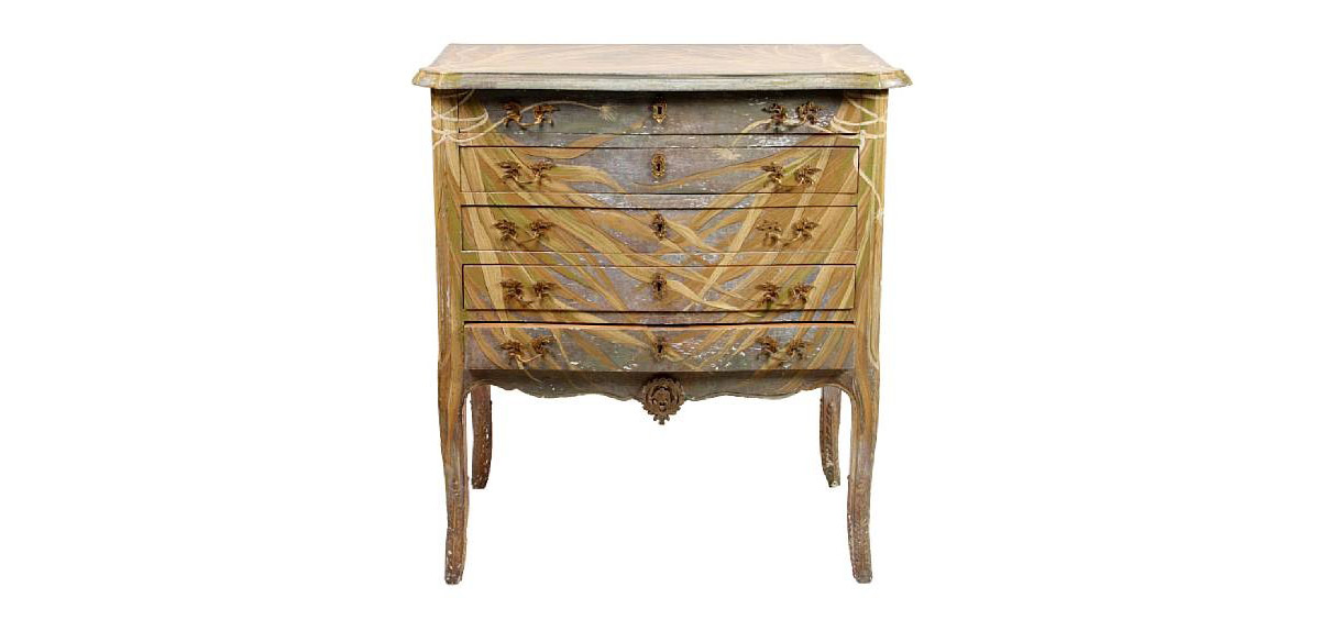 Cm 43 Louis Xv Xvi Transitional Style Painted Chest