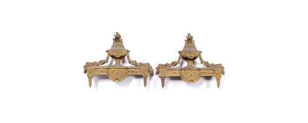 Louis XVI-Style Gilt Bronze Chenets