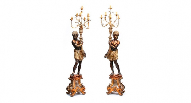 Pair of Venetian Style Figural Seven Light Blackamoore Torchères Late 20th