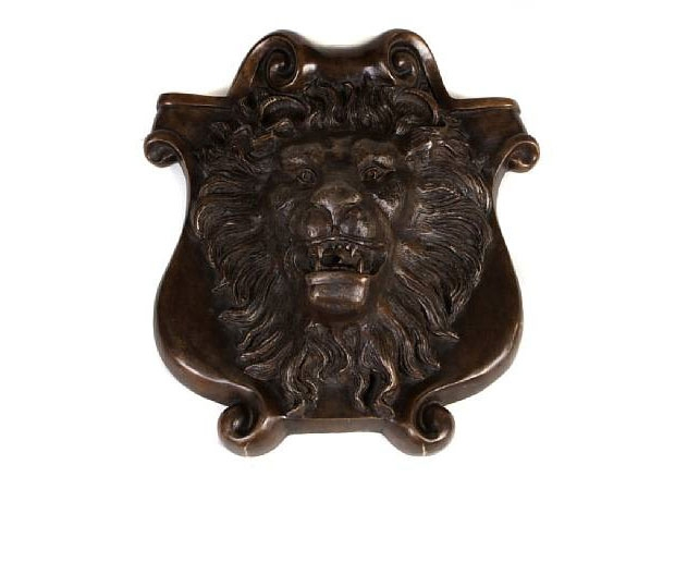 Patinated Bronze Shield Form Fountain Head Centered by a Lion Mask