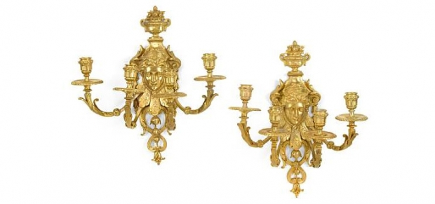 Pair 19th Century Regence Style Four Light Sconces