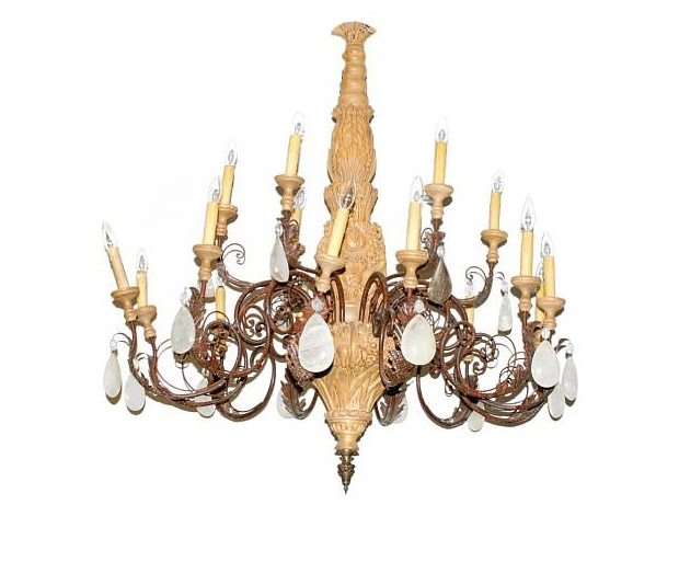 Rococo Style Wrought Iron Fruitwood And Rock Crystal Eighteen Light Chandelier