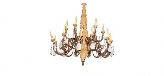 Rococo Style Wrought Iron, Fruitwood and Rock Crystal Eighteen Light Chandelier