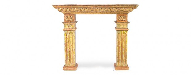 Spanish Baroque Style Marble and Carved Giltwood Fire Surround