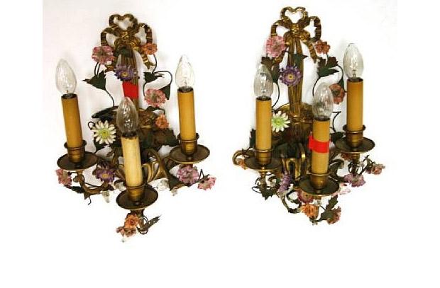 Antique Pair Louis XVI Style Brass, Tôle, Porcelain and Glass Three Light Sconces