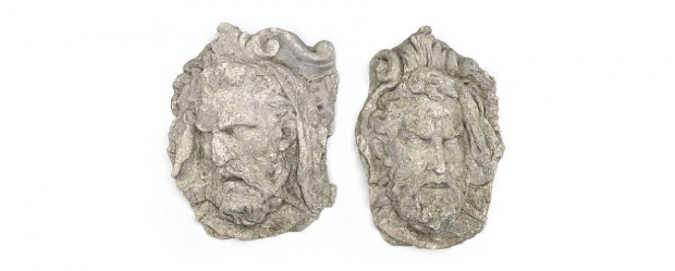 Antique Pair of Continental Cast Stone Wall Masks