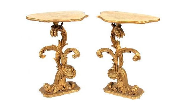 Pair of Italian Rococo Style Giltwood Pedestals