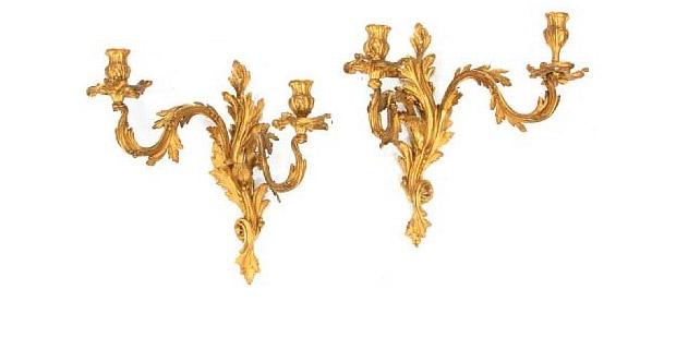 Pair of Louis XV Style Gilt Bronze Two Light Sconces