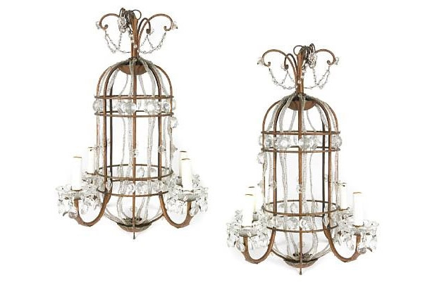 Pair of Birdcage Form Four Light Chandeliers