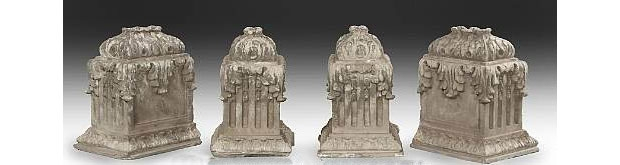 Set of Four Neoclassical Style Stone Garden Ornaments