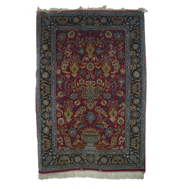 Fine Esfahan Rug Signed With Crane And Lanterns The