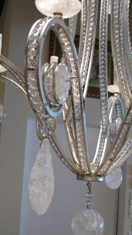 Silverleaf iron and Rock Crystal Chandelier (6)