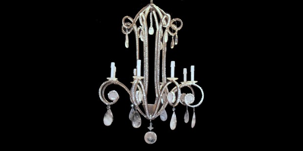 Iron Polish Silver Leaf Rock Crystal Chandelier