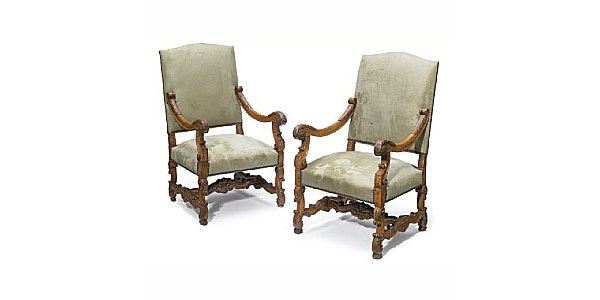 19th Century Pair Louis XIV Style Carved Walnut Fauteuils