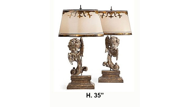 Pair Italian Baroque style Carved Angel Head Table Lamps