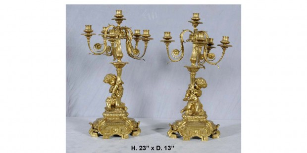 19th Century Pair French Dore Bronze Figural Candelabra