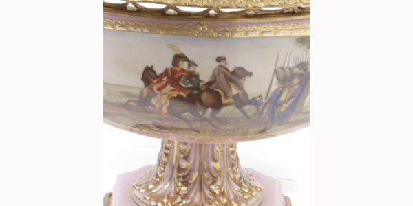 Louis XV Style Gilt Bronze Mounted Porcelain Compote