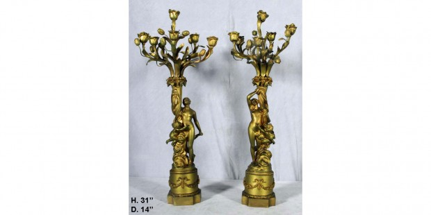 Pair 19 Century French Bronze 6 Light Figural Candelabra