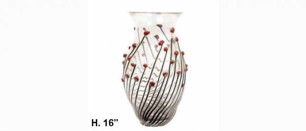 Zanotti glass vase with applied berry decoration