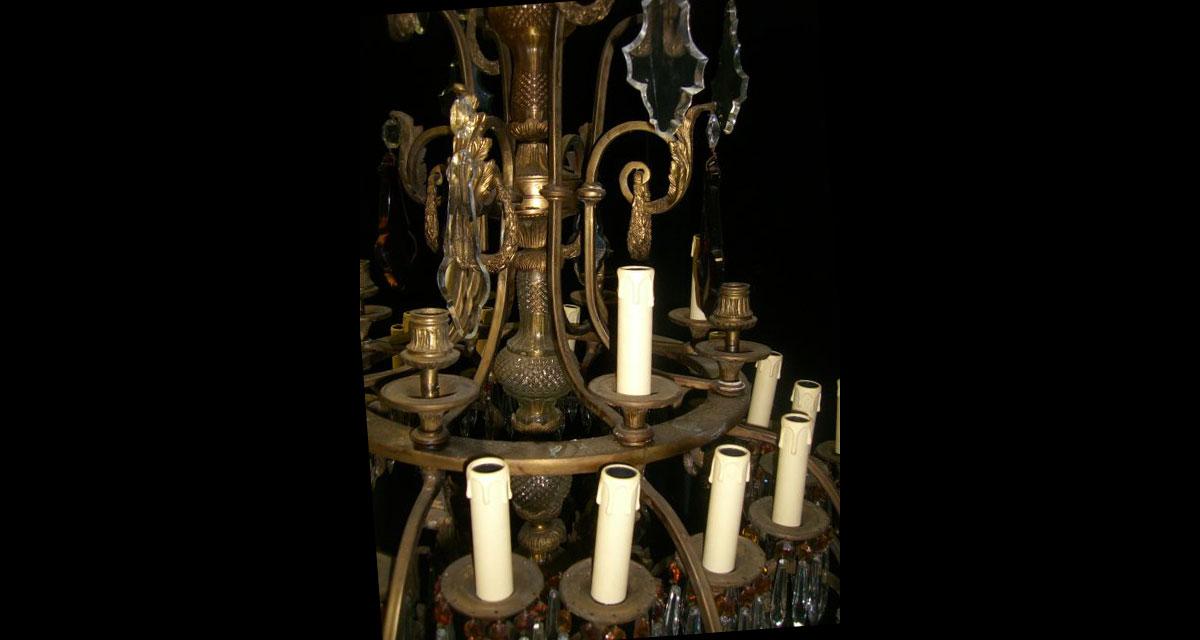 Antique spanish cut crystal amber crystal 32 light mounted antique spanish cut crystal amber crystal 32 light mounted bronze chandelier aloadofball Gallery