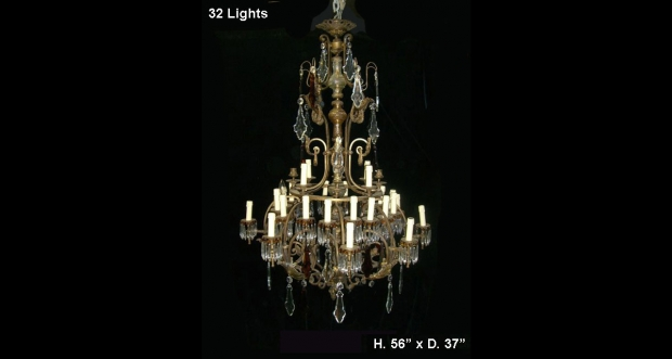 Antique Spanish Cut Crystal & Amber Crystal 32 Light Mounted Bronze Chandelier
