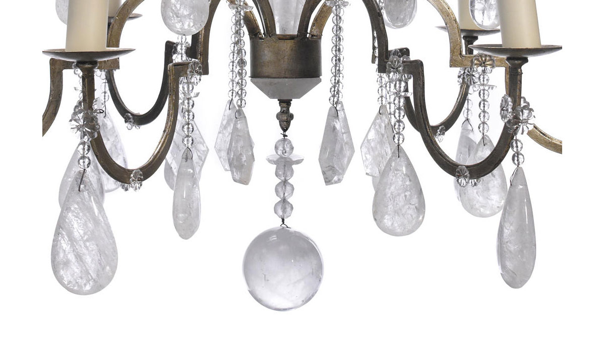 Rococo Style Silvered Metal and Rock Crystal Six Light Chandelier – Rock Crystal Chandelier