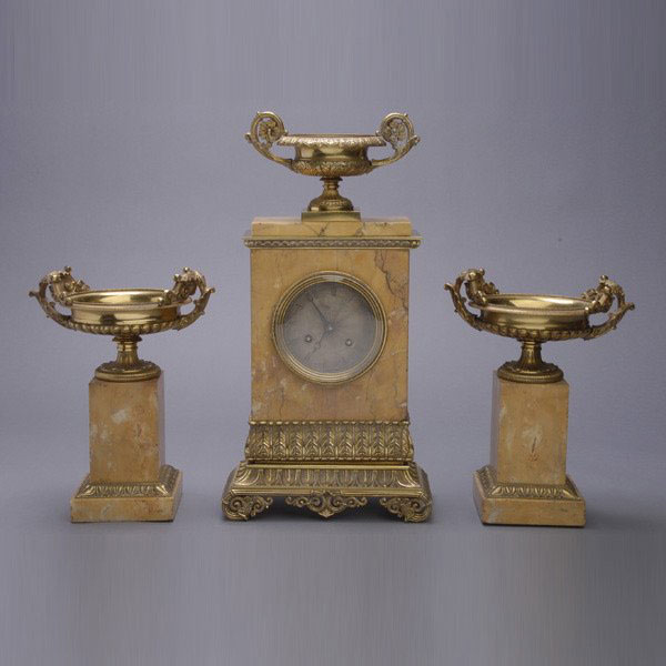 Pc bronze brass baroque french mantle clock amp