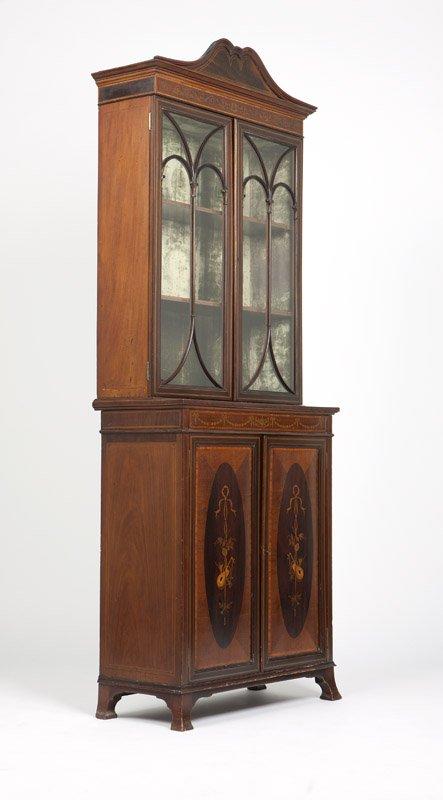Edwardian Mahogany marquetry Narrow  bookcase (1)