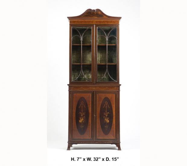 Edwardian Mahogany marquetry Narrow  bookcase COPY
