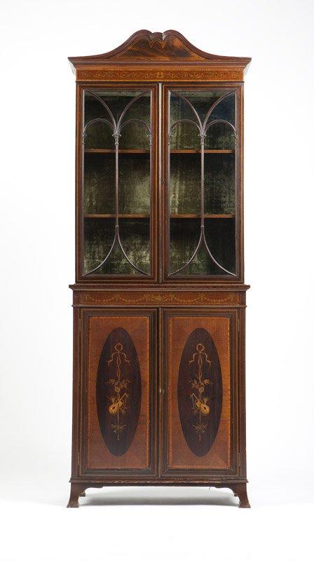 Edwardian Mahogany marquetry Narrow  bookcase