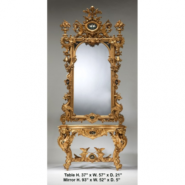 Important giltwood & pietra dura console & mirror