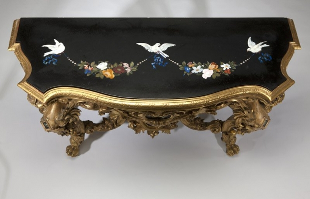 Important giltwood & pietra dura console & mirror5