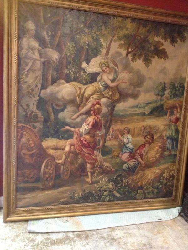Large Poucher manner oil on canvas Allegorical Scene (1)