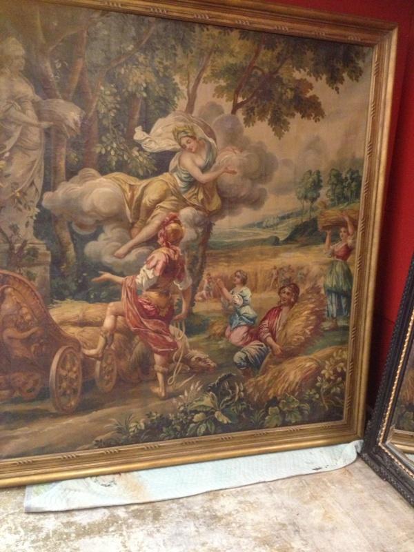 Large Poucher manner oil on canvas Allegorical Scene (2)