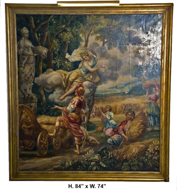 Large Poucher manner oil on canvas Allegorical Scene c