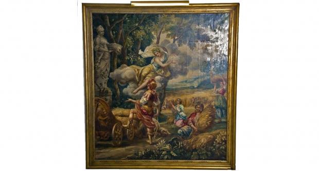 Large Poucher manner oil on canvas Allegorical Scenec c