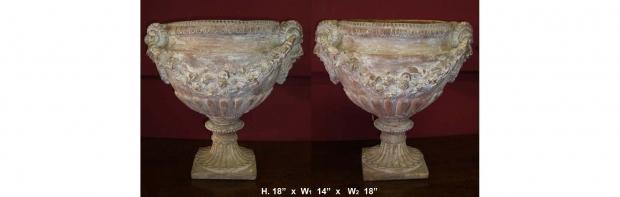 Pair L19 E20 Italian Neoclassical Terracotta Garden Urns