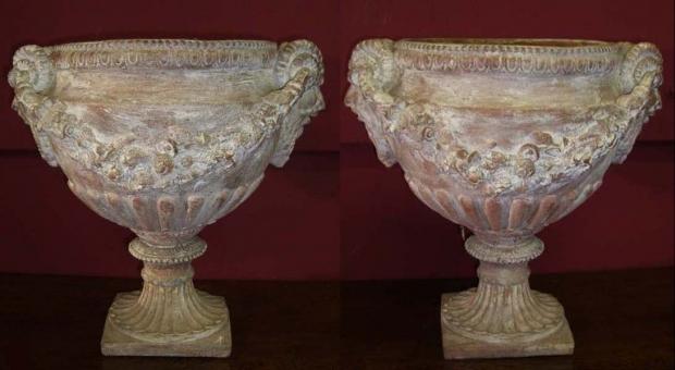 Pair L19 E20 Italian Neoclassical Terracotta Garden Urns c