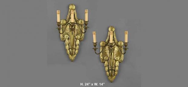 Pr. Neo-classical carved giltwood & gilt metal sconecs copyc